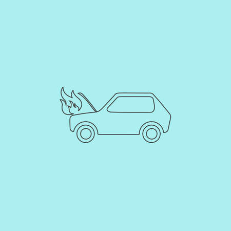 insure: Car fired. Simple outline flat vector icon isolated on blue background