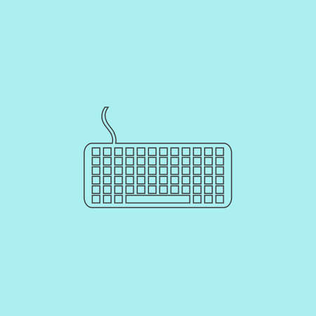 put the key: Keyboard. Simple outline flat vector icon isolated on blue background