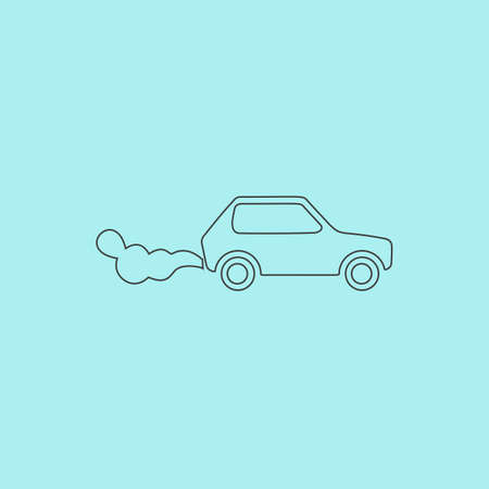 toxic emissions: Car emits carbon dioxide. Simple outline flat vector icon isolated on blue background