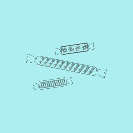 taffy: Three Candy. Simple outline flat vector icon isolated on blue background