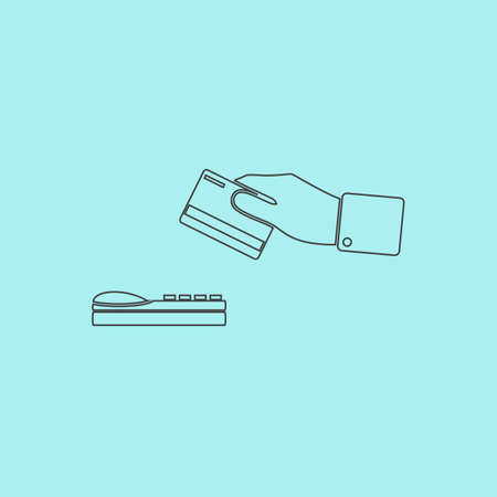 checking accounts: Hand swiping a credit card. Simple outline flat vector icon isolated on blue background