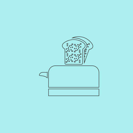ready cooked: Toaster. Simple outline flat vector icon isolated on blue background