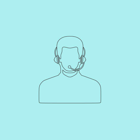 handsfree phone: Call center operator with headset. Simple outline flat vector icon isolated on blue background
