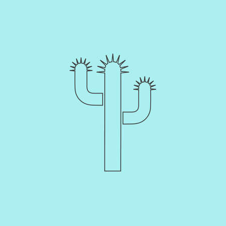 prickle: Cactus. Simple outline flat vector icon isolated on blue background Illustration