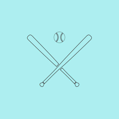 outfield: Crossed baseball bats and ball. Simple outline flat vector icon isolated on blue background Illustration