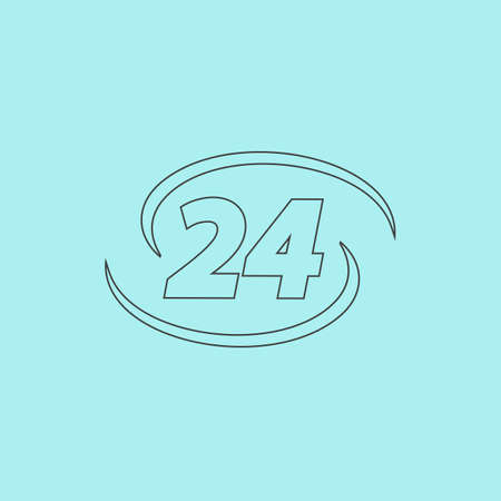 opening hours: Opening hours. Simple outline flat vector icon isolated on blue background