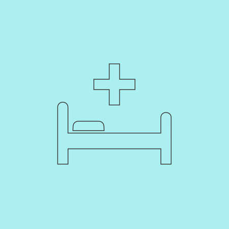 surgery stretcher: Hospital bed and cross. Simple outline flat vector icon isolated on blue background