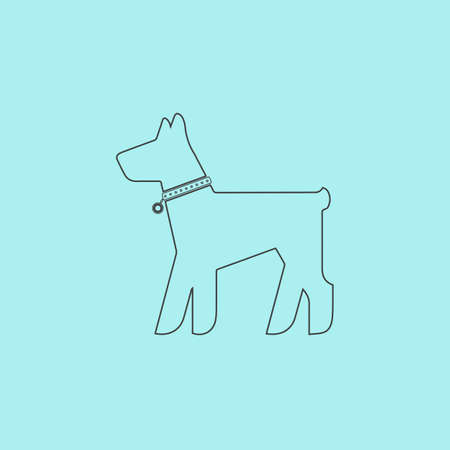 mongrel: Dog. Simple outline flat vector icon isolated on blue background