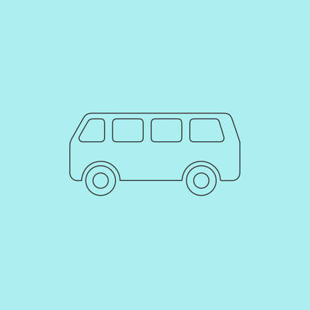 minibus: Minibus. Simple outline flat vector icon isolated on blue background