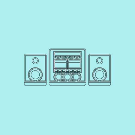 frequency modulation: Stereo system. Simple outline flat vector icon isolated on blue background Illustration