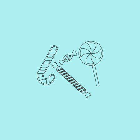 taffy: Sweets and candies. Simple outline flat vector icon isolated on blue background