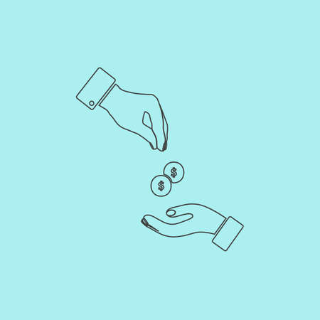 annular: Hands Giving and Receiving Money. Simple outline flat vector icon isolated on blue background