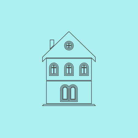 realstate: Simple old house. Simple outline flat vector icon isolated on blue background