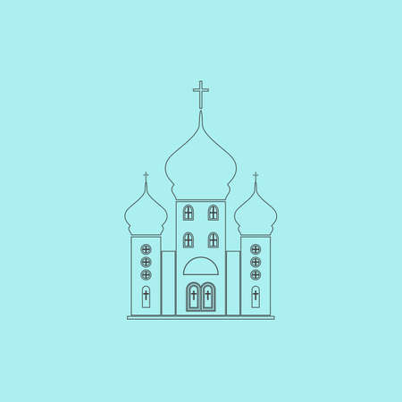 born again: Church. Simple outline flat vector icon isolated on blue background Illustration