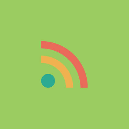 RSS. Colorful vector icon. Simple retro color modern illustration pictogram.