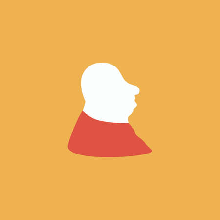 full face: Full face fat man. Colorful vector icon. Simple retro color modern illustration pictogram.  Illustration