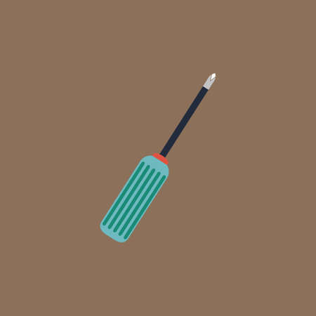 turn screw: Pocket screwdriver. Colorful vector icon. Simple retro color modern illustration pictogram.