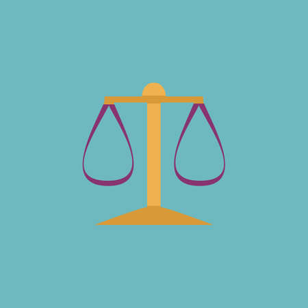 tribunal: Scales balance. Colorful vector icon. Simple retro color modern illustration pictogram.