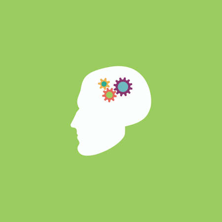 unsolvable: Human head gear hybrid knowledge. Colorful vector icon. Simple retro color modern illustration pictogram.