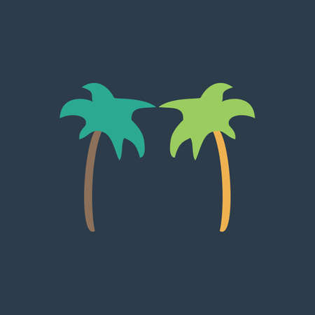tree outline: Two palm trees. Colorful vector icon. Simple retro color modern illustration pictogram.