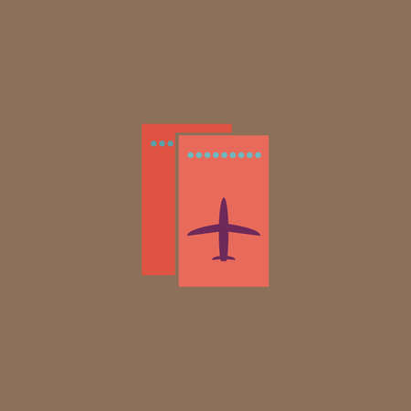 airway: Airline ticket. Colorful vector icon. Simple retro color modern illustration pictogram.