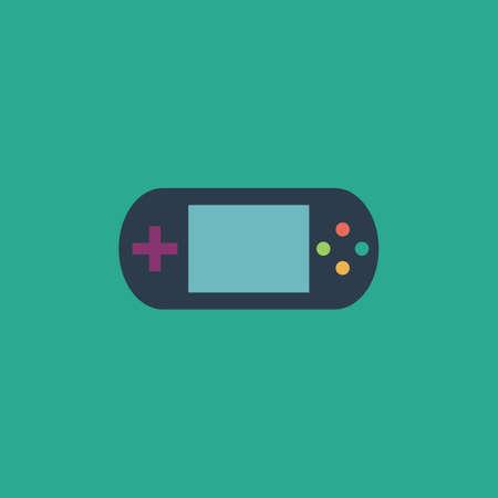 portable console: Handheld game console. Colorful vector icon. Simple retro color modern illustration pictogram.  Illustration