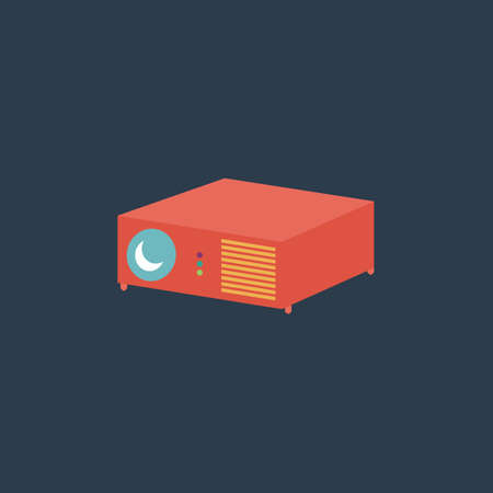 taught: Projector. Colorful vector icon. Simple retro color modern illustration pictogram.