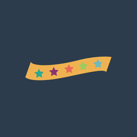 bestseller: Recommended bestseller star ribbon. Colorful vector icon. Simple retro color modern illustration pictogram.