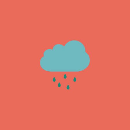 drench: Cloud with rain. Colorful vector icon. Simple retro color modern illustration pictogram.  Vectores