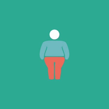 Overweight man symbol. Colorful vector icon. Simple retro color modern illustration pictogram.  Illustration