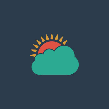 rooster at dawn: Sun cloud. Colorful vector icon. Simple retro color modern illustration pictogram.