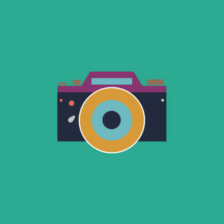 whim of fashion: Digital photo camera Colorful vector icon. Simple retro color modern illustration pictogram. Illustration