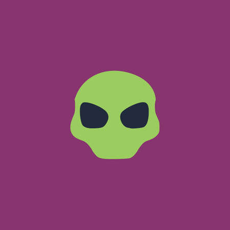 outerspace: Alien Head. Colorful vector icon. Simple retro color modern illustration pictogram.