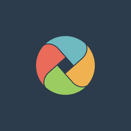 three points: Loop circle. Colorful vector icon. Simple retro color modern illustration pictogram.