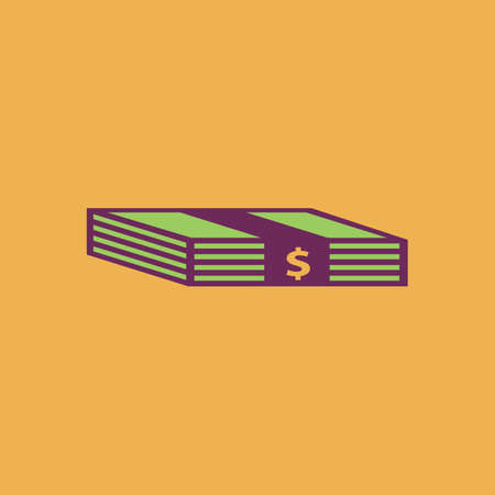 greenbacks: Bundle of Dollars. Colorful vector icon. Simple retro color modern illustration pictogram.