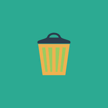 pail tank: Trash can. Colorful vector icon. Simple retro color modern illustration pictogram.
