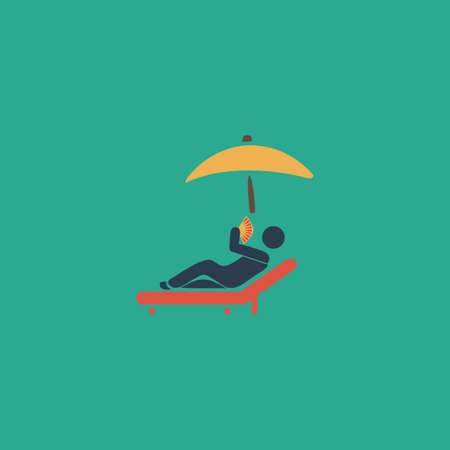 woman lying down: Relax under an umbrella on a lounger. Colorful vector icon. Simple retro color modern illustration pictogram.  Illustration