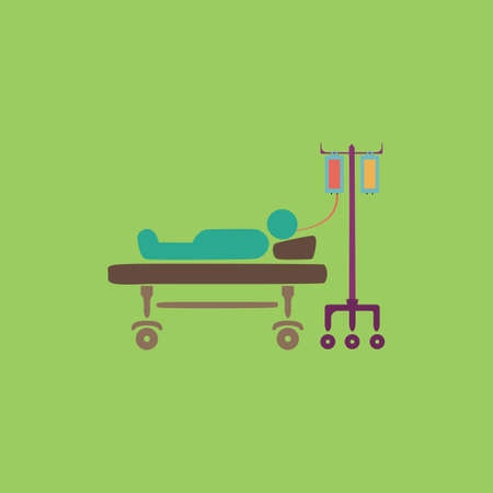 hospitalized: Life hospitalized. Colorful vector icon. Simple retro color modern illustration pictogram.  Illustration