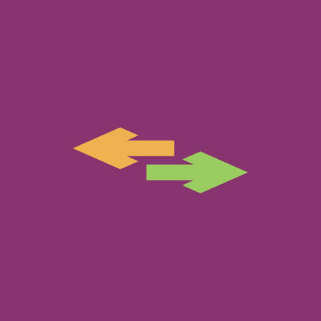 double bad: Two side arrow. Colorful vector icon. Simple retro color modern illustration pictogram.