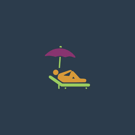 woman lying down: Simple Relax under an umbrella on a lounger. Colorful vector icon. Simple retro color modern illustration pictogram.