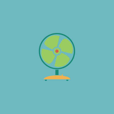 heatwave: Table fan. Colorful vector icon. Simple retro color modern illustration pictogram.