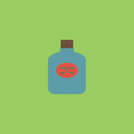 lethal: Bottle of poison. Colorful vector icon. Simple retro color modern illustration pictogram.