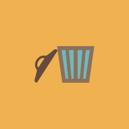 scrapheap: Trash can. Colorful vector icon. Simple retro color modern illustration pictogram.  Illustration