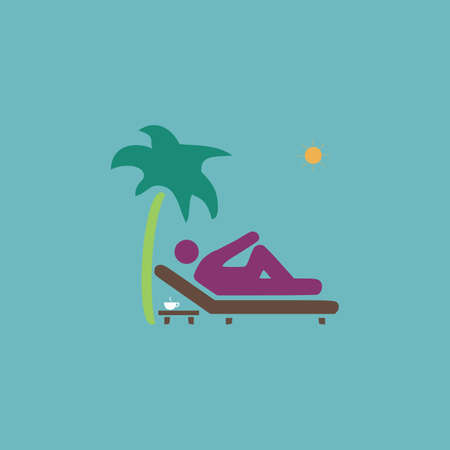 palm reading: Man relaxing on a deck chair under palm tree and standing table with a cup of coffee. Colorful vector icon.