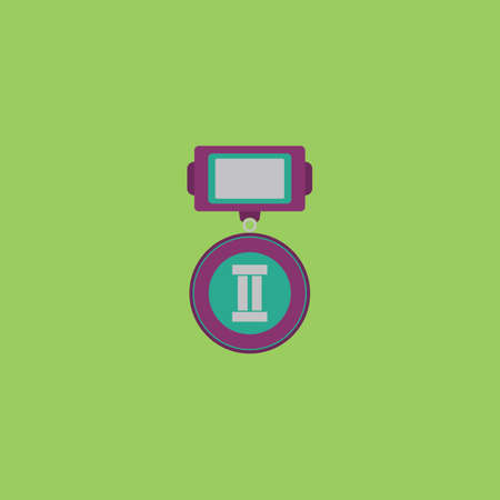 places: Medals 2 places. Colorful vector icon. Simple retro color modern illustration pictogram.  Illustration