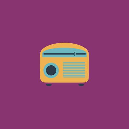 cb: Retro revival radios tuner. Colorful vector icon. Simple retro color modern illustration pictogram.