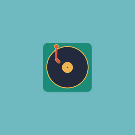 electronic 80s: Turntable dj. Colorful vector icon. Simple retro color modern illustration pictogram. Collection concept symbol for infographic project and logo Illustration