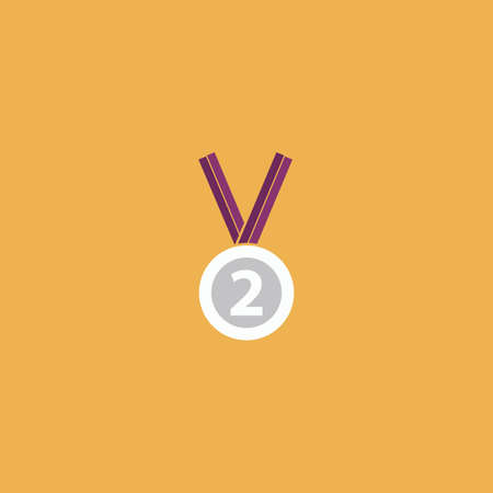 runner up: Second place award silver medal with ribbon. Colorful vector icon. Simple retro color modern illustration pictogram. Collection concept symbol for infographic project and logo Illustration