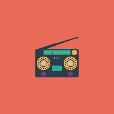 Classic 80s boombox. Colorful vector icon. Simple retro color modern illustration pictogram. Collection concept symbol for infographic project and logo Stock Illustratie
