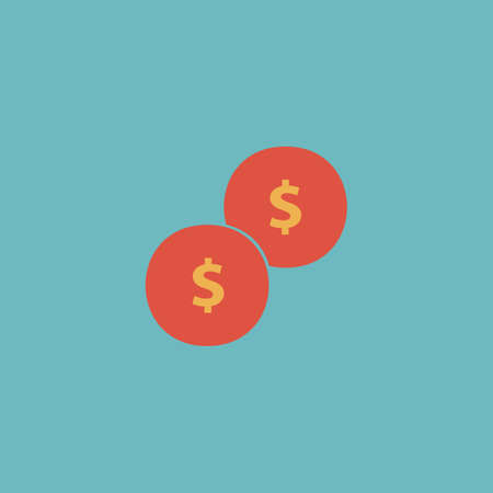 Dollars Money Coin Colorful Vector Icon Simple Retro Color